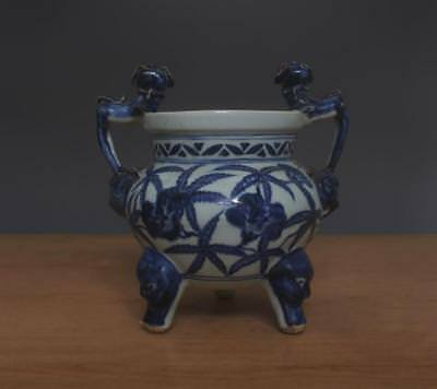 Xuande Signed Antique Chinese Blue & White Porcelain Incense Burner w/ Kylin