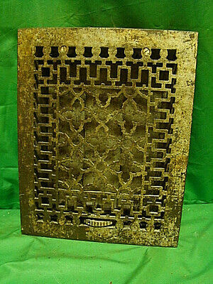 ANTIQUE LATE 1800'S CAST IRON HEATING GRATE UNIQUE ORNATE DESIGN 14 X 11 df