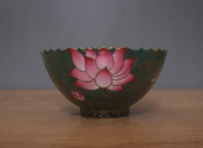 Yongzheng Signed Antique Chinese Famille Rose Lotus Flower Bowl