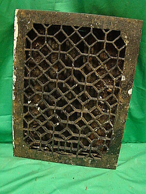 Antique Late 1800's Cast Iron Heating Grate Unique Ornate Design 16 X 12  D