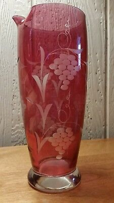 Vintage cranberry red Etched Glass Martini drink pitcher
