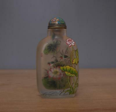 Ding Erzhong Signed Chinese Glass inside Painting Snuff-bottle w/ Flower bird