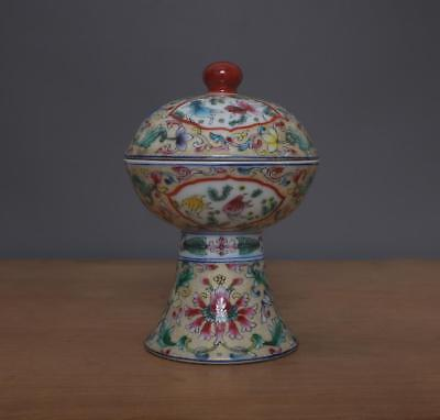 Qianlong Signed Antique Chinese Famille Rose High Stem Bowl With Lid