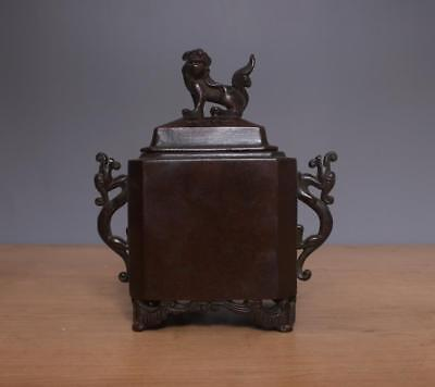 Xuande signed Chinese Bronze or Copper Incense Burner w/Lidded Lion