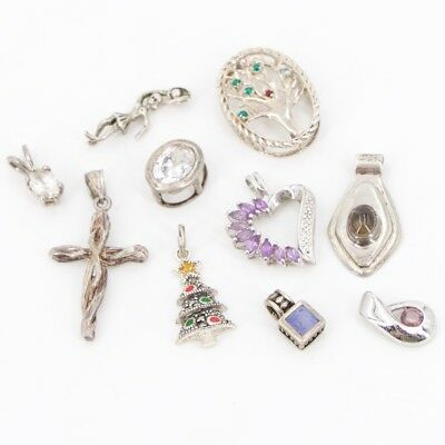 VTG Sterling Silver - Lot of 10 Assorted Charm Pendants NOT SCRAP - 19g