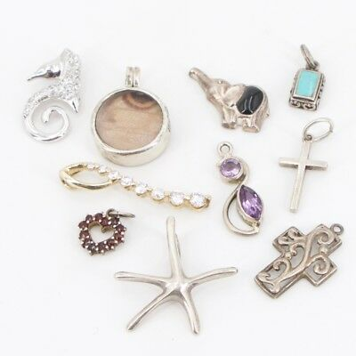 VTG Sterling Silver - Lot of 10 Assorted Charm Pendants NOT SCRAP - 21g