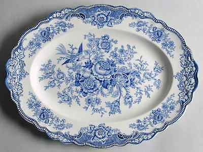 "Crown Ducal BRISTOL BLUE 16"" Oval Serving Platter 91510"
