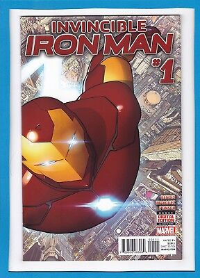 Invincible Iron Man #1_December 2015_Near Mint Minus_Wraparound Card Cover!