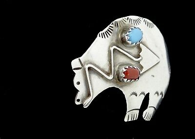 Vintage Larry Begay Navajo Stone Mounted Stamped Sterling Silver Bear Pin