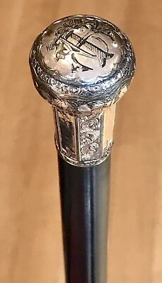 Vintage Antique 19C Walking Stick Cane Gold Filled Engraved Handle Ebonized Wood
