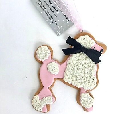 Dog Christmas Ornament Pink Poodle Faux Cookie Holiday Tree Decoration 3.25in