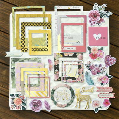 32pcs photo love flowers frames cardstock die cut for scrapbooking/photo decor
