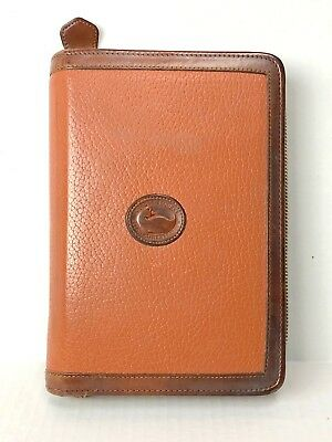 Dooney & Bourke Vintage Zip Around Day Planner Agenda AWL British Tan brown USA