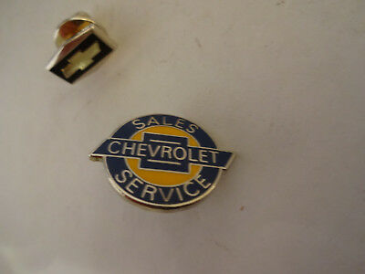 2 Vintage Chevrolet Lapel or Hat Pins Sales & Service and Bowtie Symbol Pin
