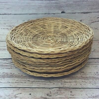 Vintage Paper Plate Holders Rattan Wicker C&ing Lot 8 Wall Decor Basket Boho : wicker paper plate holders - Pezcame.Com
