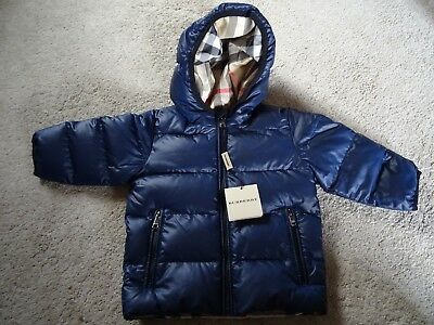 Burberry Boy's Navy Padded puffer jacket 12 months New £175
