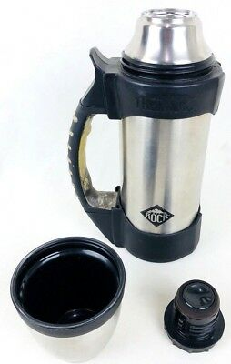 Thermos The Rock 1.1qt Beverage Bottle Silver Stainless Steel Thermax Insulation