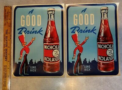 (2) 1950's Vintage NOS Nichol-Kola Decals with bottle. Water to Glass. Signs.