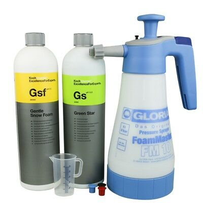 Gloria FM10 Set mit Koch Chemie Gentle Snow Foam,Green Star & DFT Messbecher