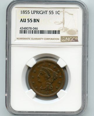 1855 Braided Hair Large Cent (AU 55 BN) NGC.  Upright 55!!