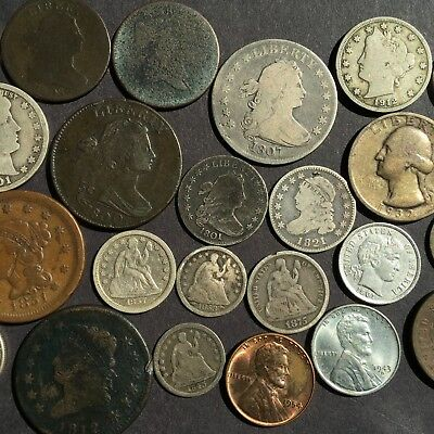 1801 DRAPED BUST DIME AND 1807 DRAPED BUST QUARTER in 26 COIN LOT