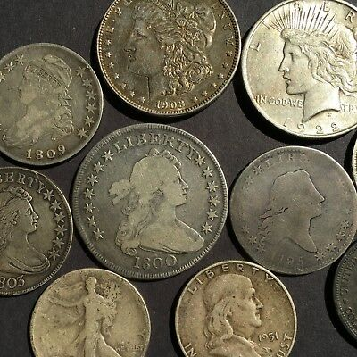 1800 DRAPED BUST DOLLAR AND 1803 DRAPED BUST HALF DOLLAR in 12 COIN LOT