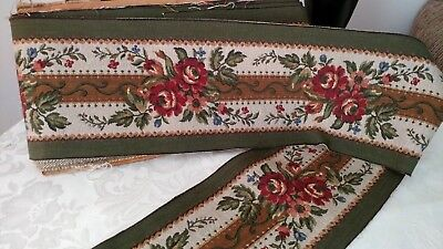 """6.62_Yds_Antique_French_Gobelin_Tapestry_Finely_Woven_Trim_Edging_6.6""""_Width_"""