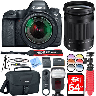 Canon EOS 6D Mark II 26.2MP DSLR Camera EF 24-105mm and 18-300mm F3.5-6.3 C Lens