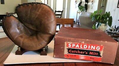 Spalding 1938 Buckle Back Catcher's Mitt And Store Display Box Rare