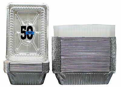 "50 Pack Aluminum Foil Pans with Lids 8 x 5.5"" Disposable Takeout Food Containers"