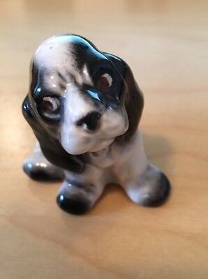 "Vintage Porcelain Black White Cocker Spaniel Dog Figurine 2"" BY 3"""