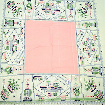 "VTG Fabric Panel 46"" x 43"" Tablecloth Wall Art Kitchen Retro Mod Pink Green"