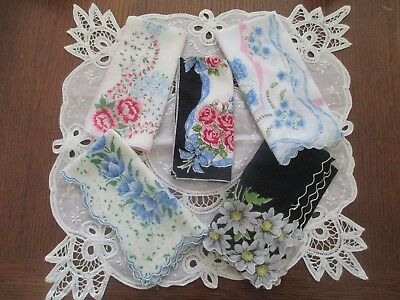 Vintage Handkerchiefs Hankies~ Lot of 5 Floral