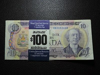 $100 RBC Royal Certified Service FASCASH 1971 $10 & 1979 $20 Banknotes Canada