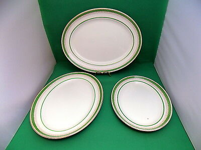 Losol Ware Green / Gold Oval Serving Platters x 3