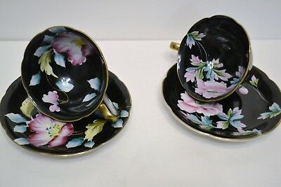 Chugai China Set Of Two Tea Cups And Saucers Black With Pink Floral Designs
