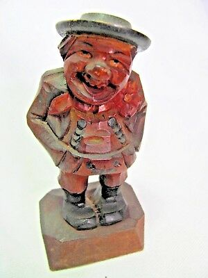 Vintage Hand Carved Figurine Man Hands in Lederhosen Pockets  Anri ? German