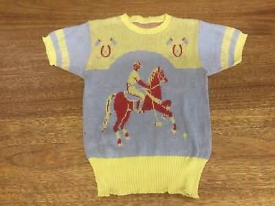 VINTAGE MEN'S 50'S POLO HORSE PLAYER WOOL BLEND PICTURE SWEATER Rockabilly Swing