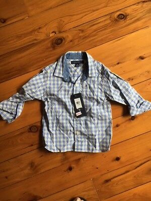 Tommy Hilfiger Baby Boys Long check blue Sleeve Shirt Top Size 18 months
