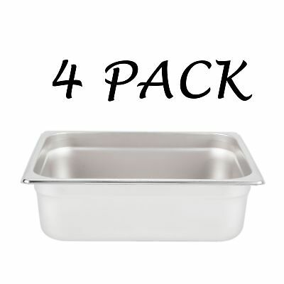 """4 PACK Half Size Stainless Steel 4"""" Deep Steam Prep Table Pan Buffet Hotel 1/2"""