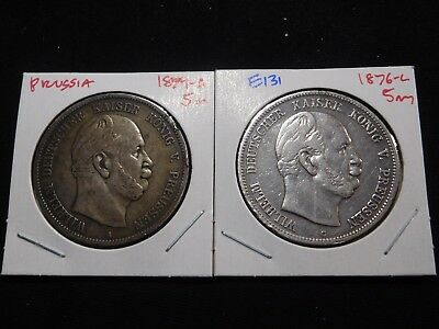 E131 German State Prussia 1874-A & 1876-C 5 Marks Group 2 Pieces