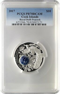 2017 $10 Cook Islands Royal Delft Peacock Silver Proof Coin PCGS PR70DCAM