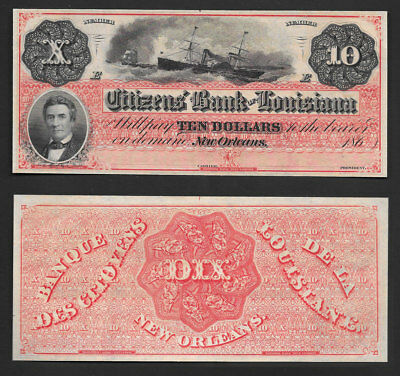 "**superb/gem++** $10 1860's ""new Orleans,louisiana ""dix Note"" ((Stunning))"
