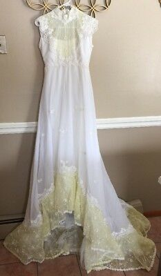 Vintage WEDDING DRESS White With Yellow Bodice Train Embroidered Flowers Lace