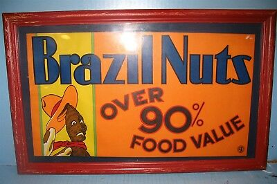 1930s Art Deco Brazil Nuts Sign Retail Fruit Trade Com w Poop Like Nut Character