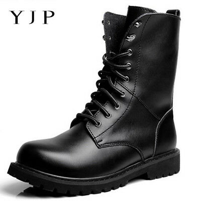 AU Mens Combat Shoes Leather Military Army Hiking   Lace Up Ankle Boots