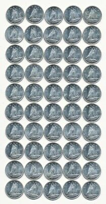 Roll Of (50) 1964 Canada 80% Silver Dimes Exact Shown - Free Shipping