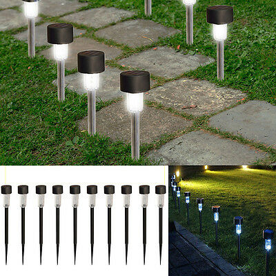 10 PCS LED Solar Stainless Steel Light Outdoor Landscape Path Garden Lawn Lamp