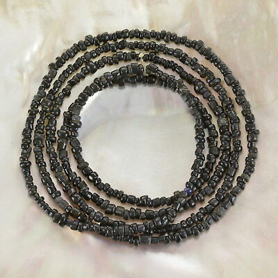 Rare ANCIENT Black INDO-PACIFIC TRADE GLASS BEAD Strand 4.84 g 100 BC-500 AD