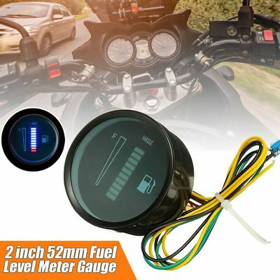 "LED Fuel Level Gauge, 12V DC Fuel Indicator Universal Car Motorcycle 52mm (2"")"